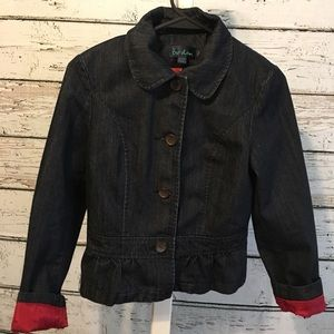 Boden Dark Wash Denim Blazer Jacket Size 10